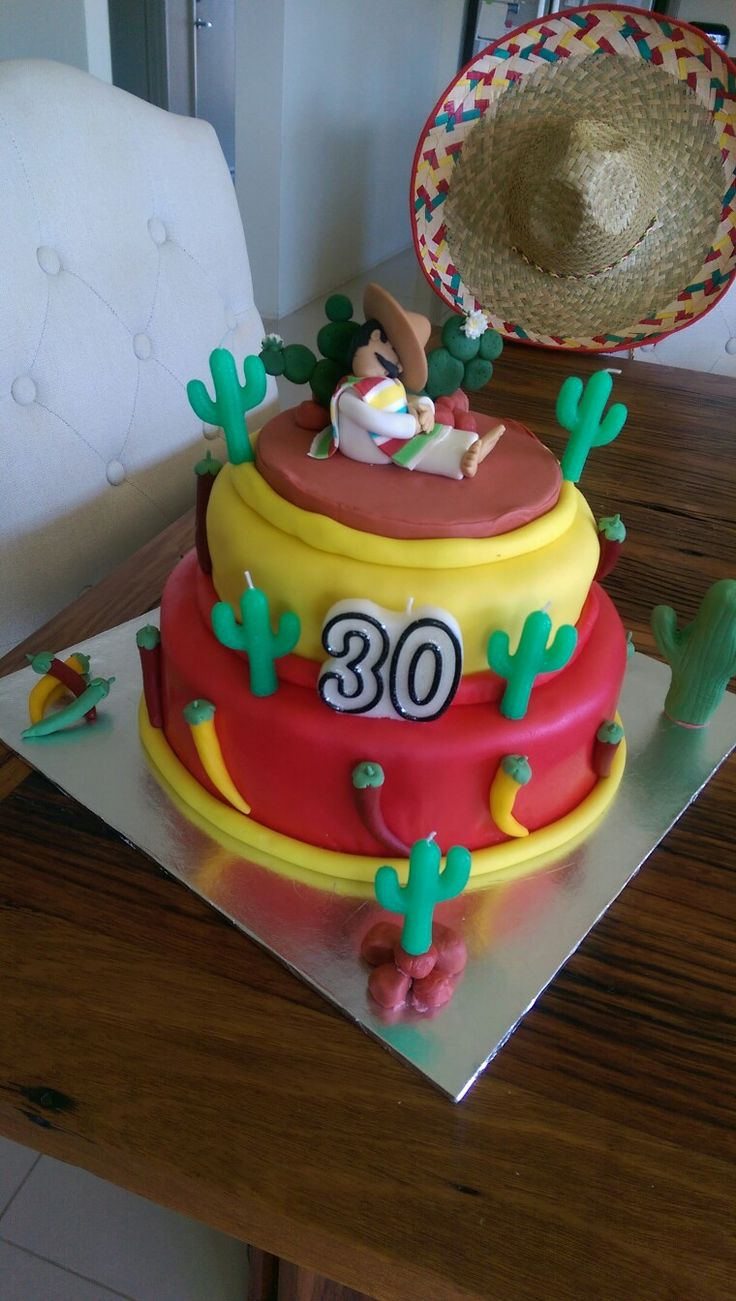 mexican themed party homemade, 30th Birthday cake, cactus & chilies, siesta
