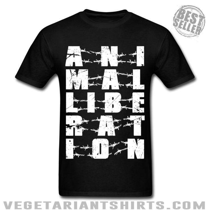 """Animal Liberation"" Animal Rights Activist T-Shirt ( #Vegetarian #Vegan )"