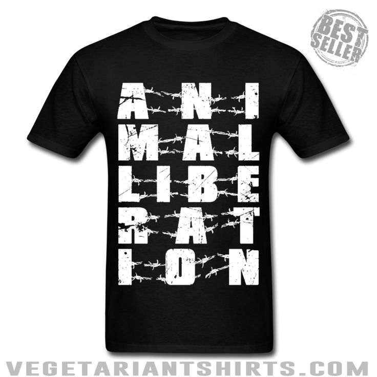 """Animal Liberation"" Animal Rights Activist T-Shirt ( #Vegetarian #Vegan )"