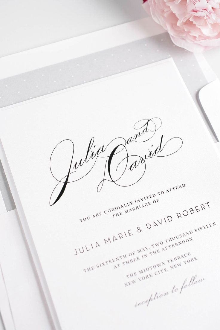 Vintage Typography Wedding Invitations In Silver