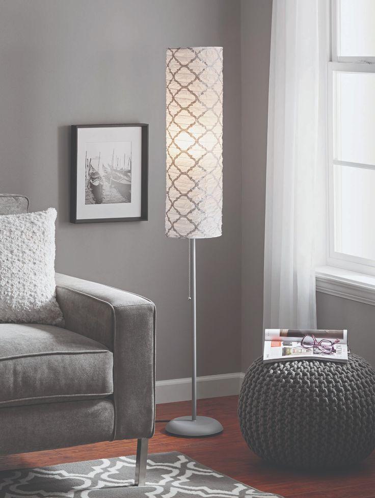 "Mainstays 54"" Metallic Silver Rice Paper Shade Floor Lamp"