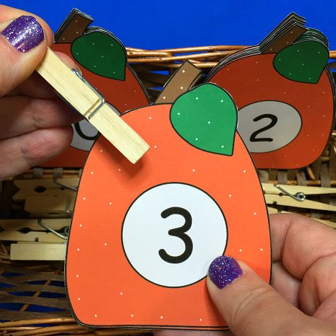 pumpkin number match and clip for preschool and kindergarten