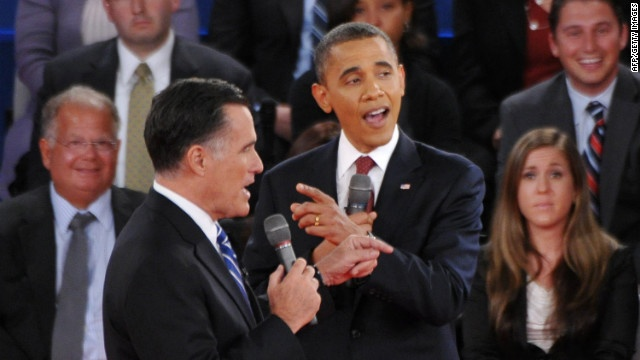 U.S. President Barack Obama and Republican presidential candidate Mitt Romney speak over each other during the second presidential debate Tuesday, October 16, at Hofstra University in Hempstead, New York. See the best photos of the first presidential debate.
