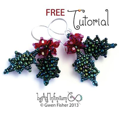 gwenbeads: Free PDF - Holly Leaf & Berry Earrings. ~ Seed Bead Tutorials