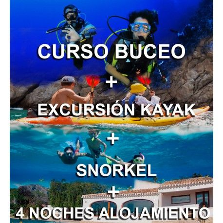 Pack Curso Buceo+Kayak+Snorkel+4 Noches