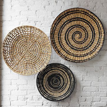 "Decorative Bowl Wall Art $29.00 – $99.00 • Ikat: 20""diam. • Graphic Hyacinth: 25""diam. • Rattan: 24""diam. • Spiral: 28""diam."