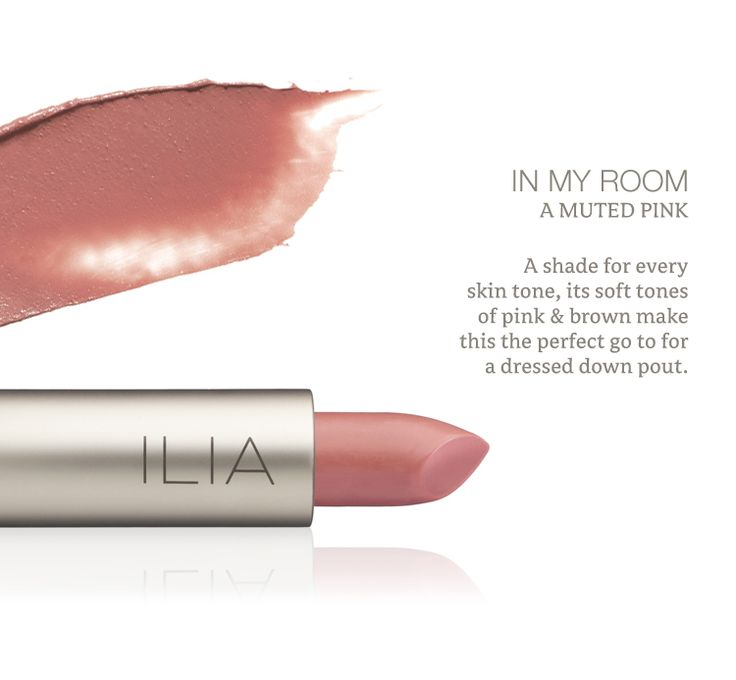 In My Room Lipstick, 100% Natural Dye | Muted pink shade http://iliabeauty.com/InMyRoom
