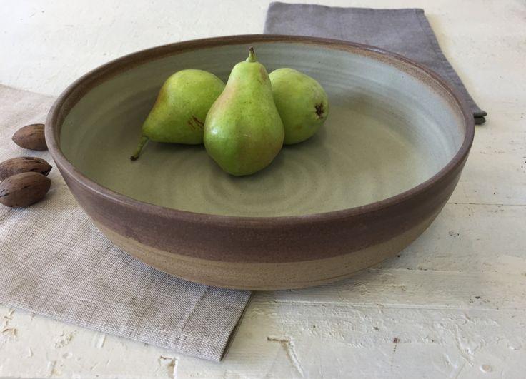 Large fruit bowl, Large salad bowl, Baking bowl, Pottery bowl, Serving bowl, Open bowl, Wheel thrown bowl, Green bowl, Brown bowl , by IngridDebardCeramics on Etsy