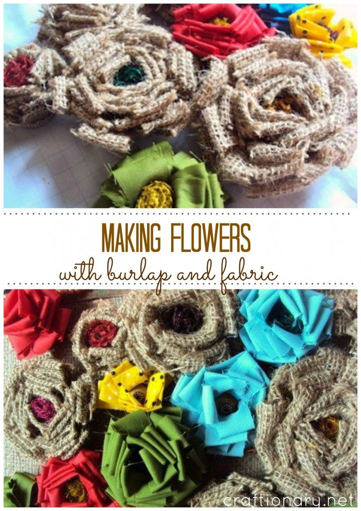 i haven't made these since the 70's!  everything old is new again ~dal  DIY flowers with burlap and fabric #flowers #burlap