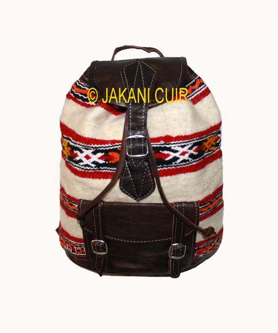 Sac à dos vintage avec Kilim sac à dos en cuir par JakaniCuir