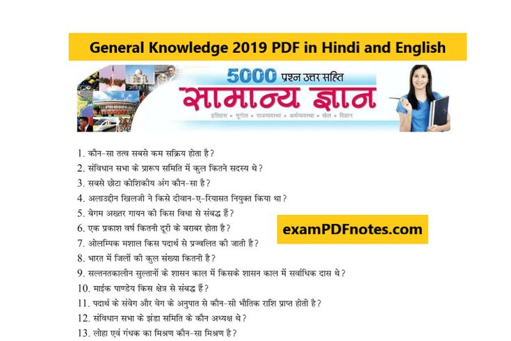 General Knowledge 2019 PDF in Hindi and English Download ...