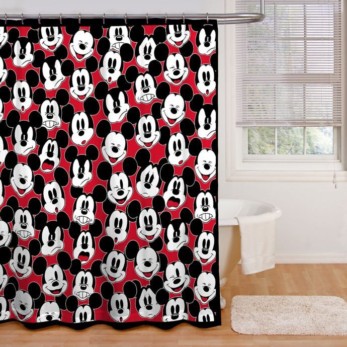 Disney Mickey Mouse Big Face Shower Curtain Collection Bed Bath