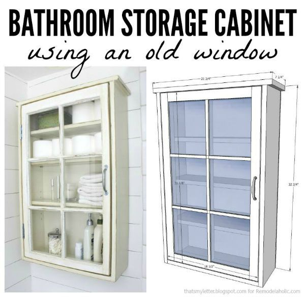 That's My Letter: Bathroom Storage Cabinet using an old window with free plans