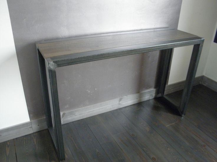Console métal et bois style loft artisanal : Meubles et rangements par…