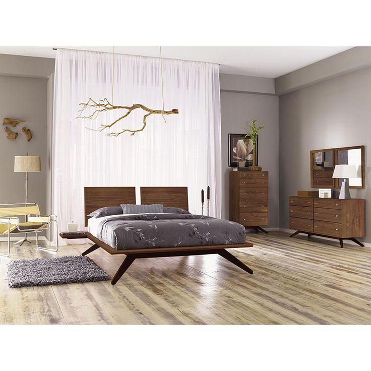 astrid modern platform bed in walnut