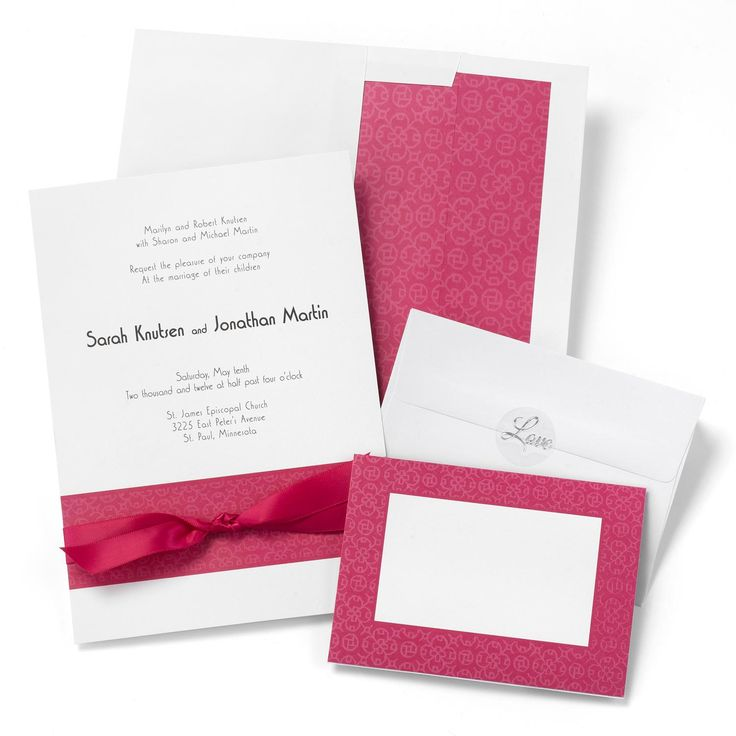 wedding invitation diy kits uk%0A Fuchsia Band Wedding Invitation Kit includes    of each  invitations  RSVP  cards  envelopes