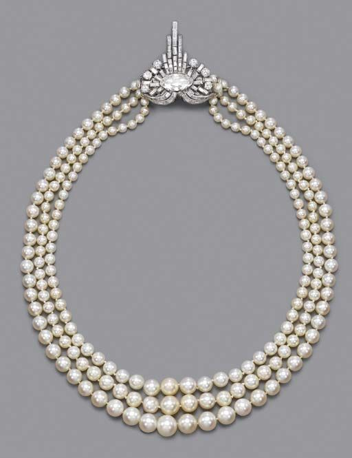 A RARE ART DECO PEARL AND DIAMOND NECKLACE Comprising three rows of graduated pearls measuring 9.8 to 4.2 mm. diameter to the baguette and circular-cut diamond clasp with graduated baguette-cut diamond tassles and oval-shaped centre, circa 1925