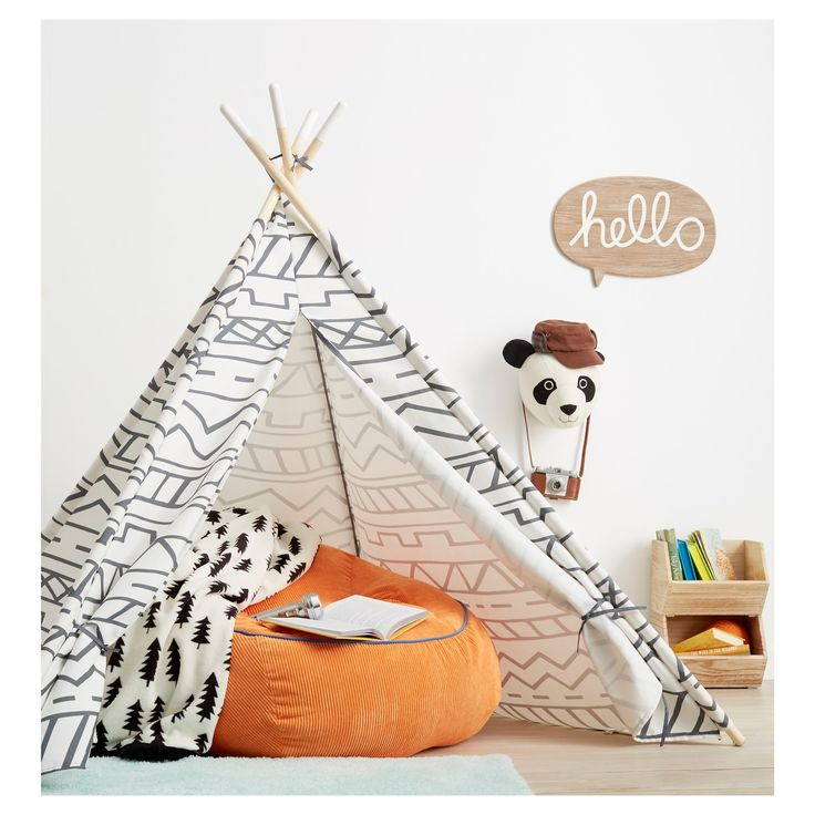 Polyester construction. Pine frame. Southwestern pattern. Promotes creative thinking. Includes matching storage bag. Wipe clean with a damp cloth<br><br>Give you child's room a real outdoor feel with the Pillowfort Southwestern Teepee in Gray/White. This kids' teepee is perfect for little imaginations during pretend play. The sou...