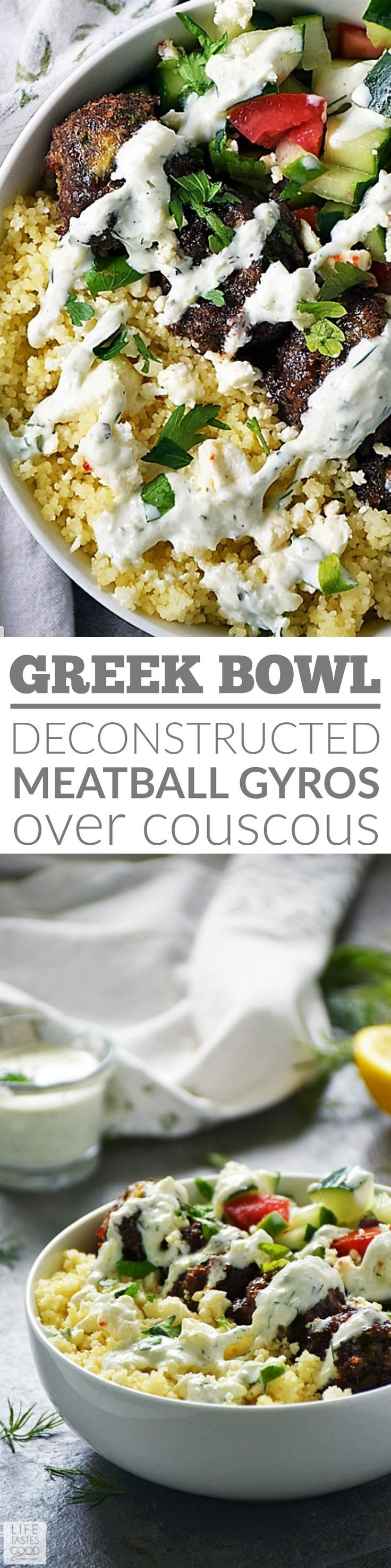 My Greek Bowl is an easy beef recipe, loaded with fresh ingredients for an explosion of exciting flavors in every bite! #LTGrecipes #meatballrecipes #bowlrecipes #greekrecipes #healthyrecipes