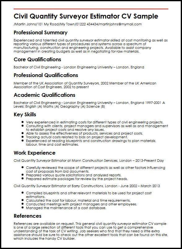 Cv Template Quantity Surveyor Cvtemplate Quantity Surveyor Template Engineering Resume Resume Cv Template