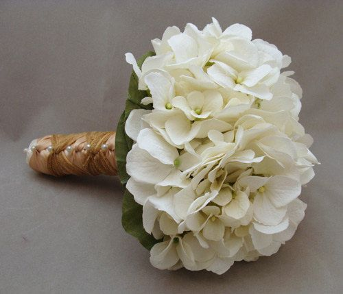 Reserved - White Silk Hydrangea Bridesmaid Bouquet Silk Flower Wedding Package on Etsy, $90.00