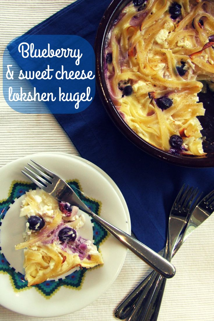 A perfect dairy lokshen kugel! Rich, sweet cheesy custard surrounds tender noodles & tart blueberries. Easy to make & even easier to eat!