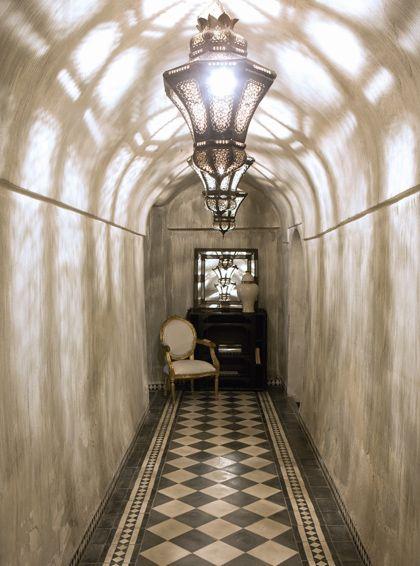 \\ Hallway in an 18th century renovated riad in Marrakesh, Morocco www.dardarma.com