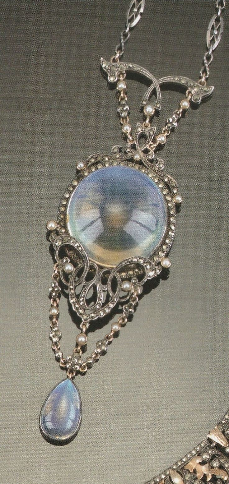 ARTS AND CRAFTS MOONSTONE, MARCASITE PENDANT