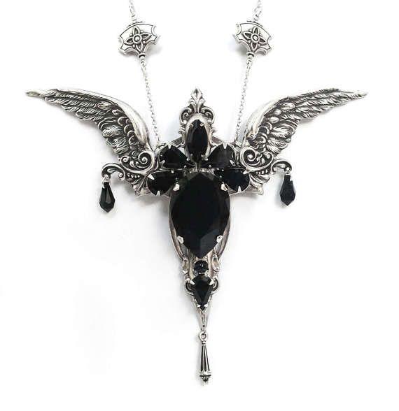 Large Gothic Pendant  Black Swarovski Gothic Necklace Silver