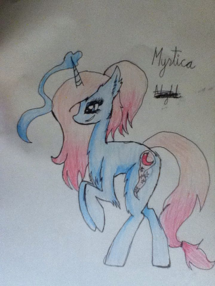 Yes its another unicorn oc,but haters gonna hate.this is Mystica pronounced. Miss-tee-ka.idk where the name came from ,i thought it would be unique.like if you orefer my new style to my old style.
