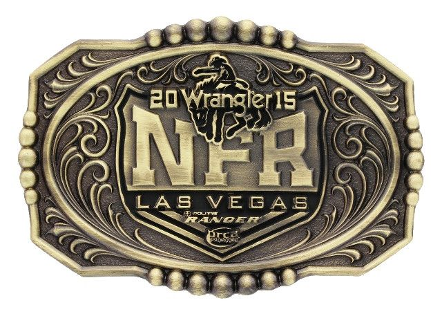 (MSNFR215) 2015 Wrangler National Finals Rodeo Brass Cast Belt Buckle