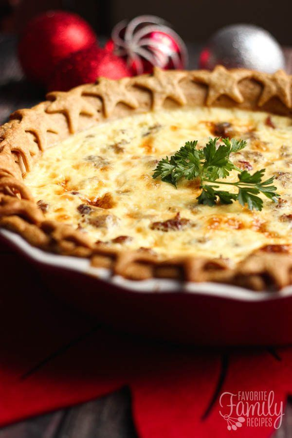 My family loves this Christmas Quiche! The savory sausage and sweet cranberries combine to make a delicious breakfast or appetizer for the Holidays.