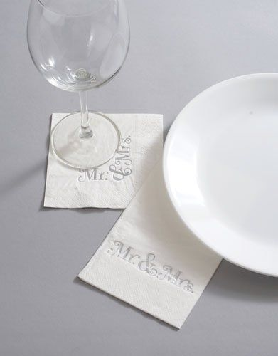 """Advantage Bridal Mr and Mrs. Guest Towels by Mindy Weiss by Mindy Weiss. $7.95. 4.25"""" x 8.25"""" L.. Guest Towels with Mr and Mrs Imprint. Qty 20 Paper Guest Towels in Paper Caddy. From the Mindy Weiss Collection these cute guest towels feature silver foil printing """"Mr. and Mrs.""""     20 3-ply wedding guest towels or newlywed guest towels.(longer rectangular napkins in photo) with """"Mr and Mrs"""" printed in gorgeous silver foil."""