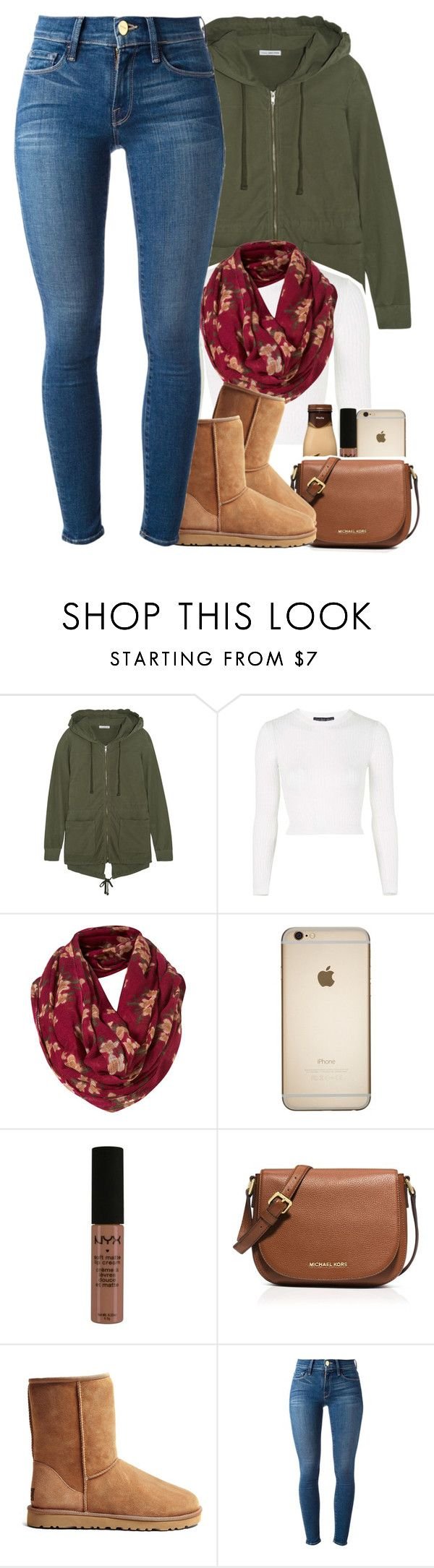 """""""sorry I haven't been posting ; uni work is keeping me busy"""" by daisym0nste ❤ liked on Polyvore featuring James Perse, Topshop, Mulberry, NYX, MICHAEL Michael Kors, UGG Australia and Frame Denim"""