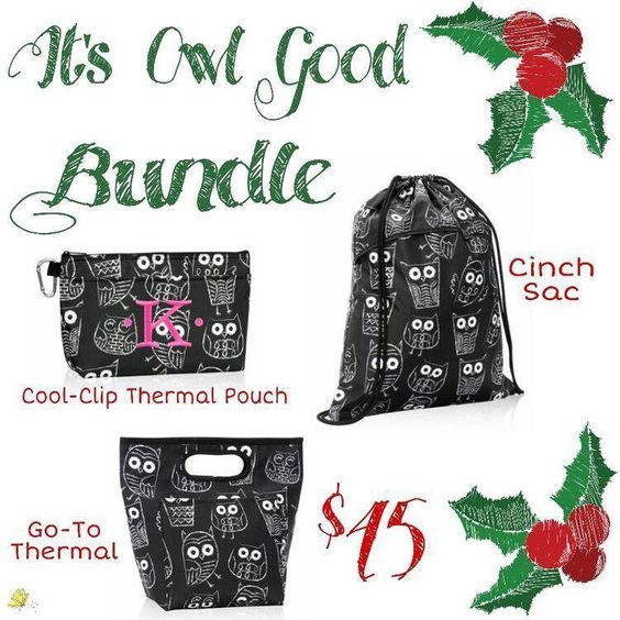 Thirty-One Gifts – It's Owl Good Bundle! #ThirtyOneGifts #ThirtyOne #Monogramming #Organization #DecemberSpecial #YourWayBin #MiniZipperPouch #StyleSleeve #GoToThermal #CatchAllBin