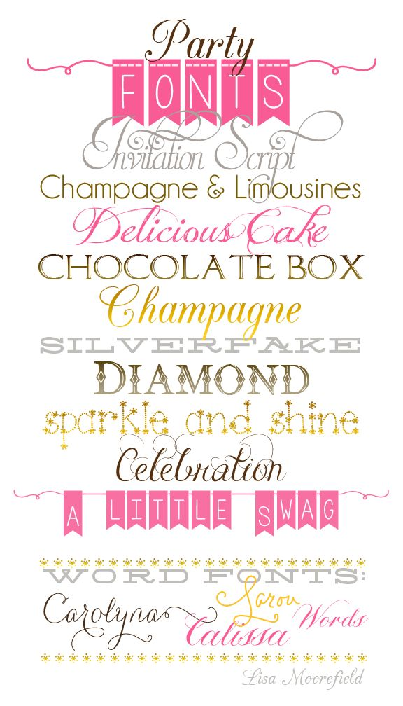 Free Party Fonts! Great for invitations, gift tags, place settings, party favor and invites.