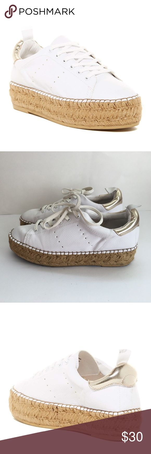 *Steve Madden * Wedge Sneaker 7 Beautiful Gold White Wedge Sneakers by Steve Madden. Us Size 7B .  Worn in Great Condition No Stains on the white or the wedge. There are some Stains on the sole please see picture ( I guess from socks) Steve Madden Shoes Wedges