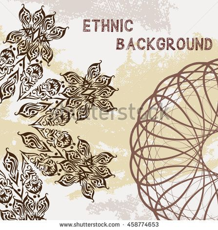 Spirograph background. Clipping mask. You can move elements. A4 gift card template. Bohemian circular design. Tribal mandala.