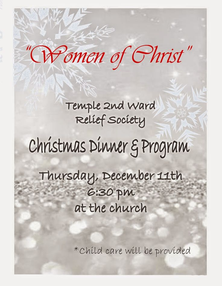X Sisters of the Temple 2nd Ward Relief Society: Relief Society Christmas Program and Dinner- December 11