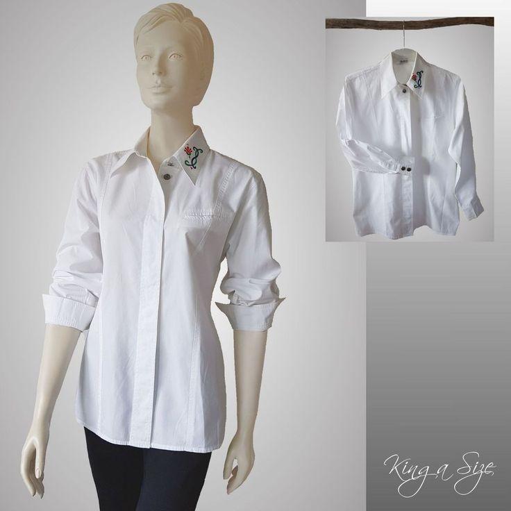 Betty Barclay - Trachten Bluse bestickt Hemdbluse Hemd Lange Arm Gr.40 weiß