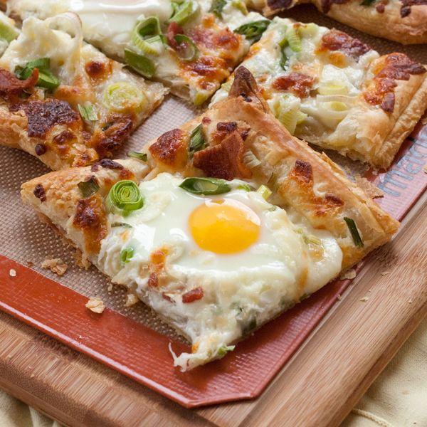 Breakfast Flatbread (a fancy way of saying breakfast pizza with fried eggs on it)