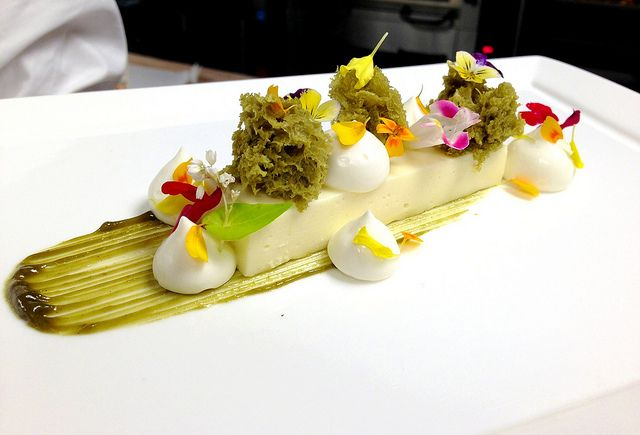 Valrhona Opalys Yogurt Custard, Pistachio Sponge, Whipped Greek Yogurt Panna Cotta, Pistachio Puree | Flickr - Photo Sharing!