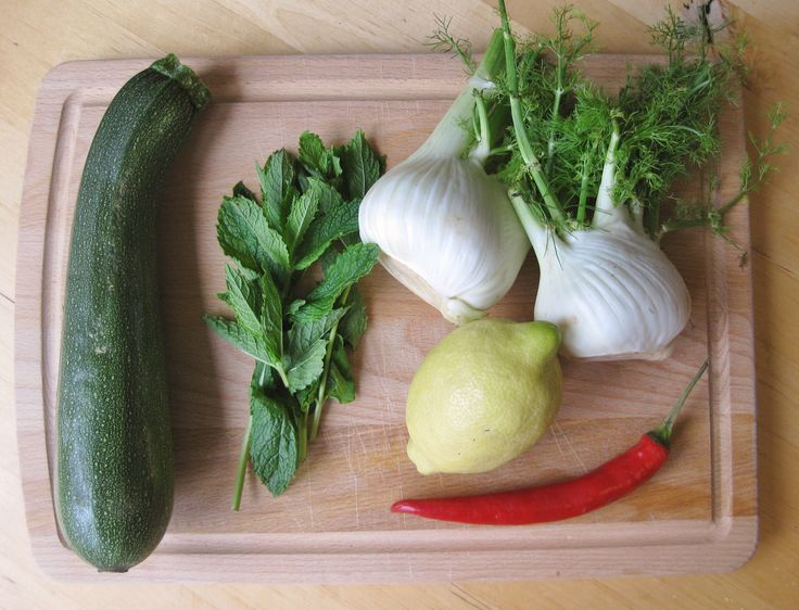 Ingredients for courgette and fennel salad http://theproofofthepudding.net/2014/07/20/fennel-and-courgette-salad/