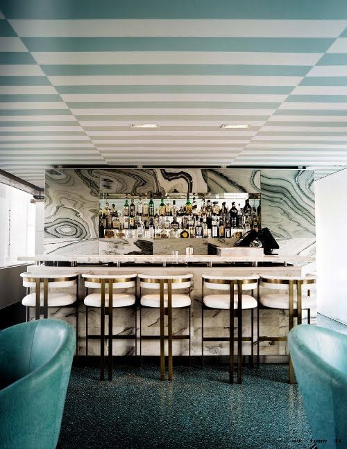 I want to have a drink here. Kelly Wearstler brings a 60s Italian style to the Avalon Hotel. Love it!