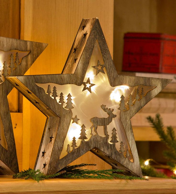 """Small Lighted Wooden Star with Moose Design, 11""""H"""