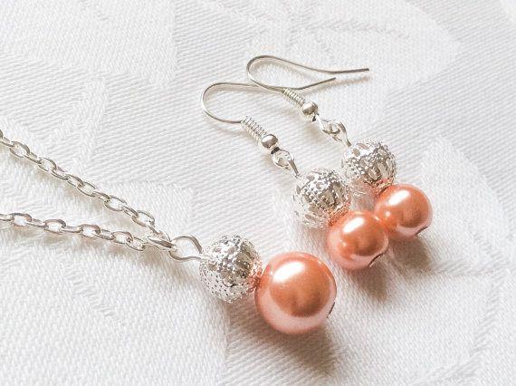 Coral Jewelry Coral Jewelry Set koraal parel sieraden koraal bruidsmeisje ketting bruidsmeisje huwelijksgeschenk