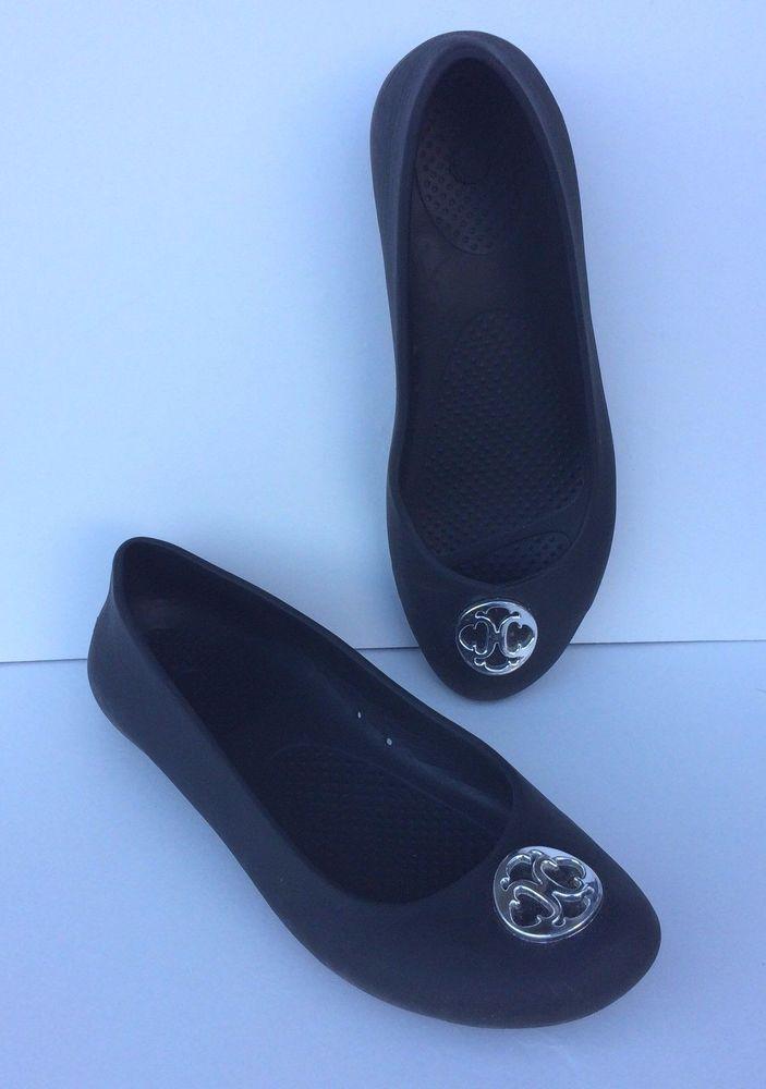 6ac65117444 Crocs Shoes Ballet Flats Womens Size 8 Wide Black Gianna Silver Disc  Comfortable