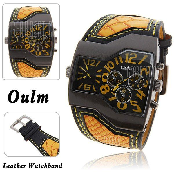 Oulm Men Military Sports Watch Dual Movt Quartz Wristwatch $9.99