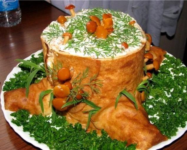 Салат *Пенек* с грибами - Перчинка хозяюшка