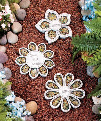 Set of 3 Flower Steppingstones: Gardens Ideas, Flower Steppingston Ltd, Backyard Ideas, Outdoor Ideas, Flower Steppingstonesltd, Step Stones, Fun Ideas, Sets, Patio Ideas